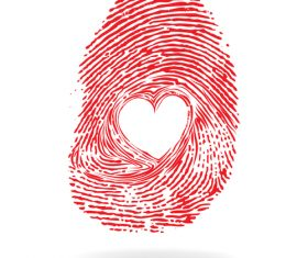 Fingerprint heart pattern vector