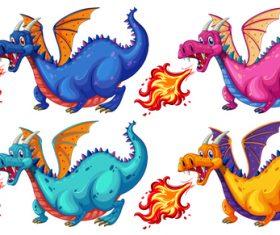 Fire breathing dinosaur cartoon vector