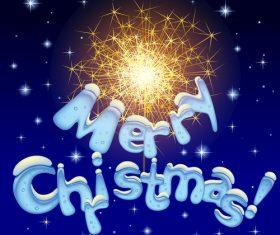 Firework christmas greeting card vector