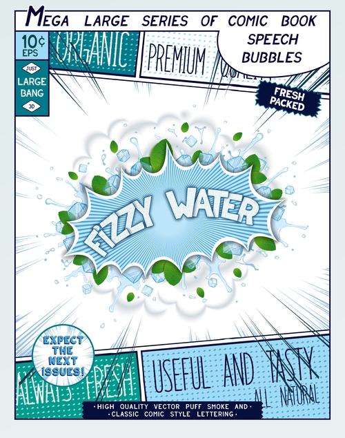 Fizzy water comic bang vector