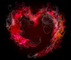 Flame heart pattern vector