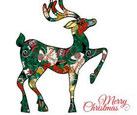 Flower combination christmas reindeer vector