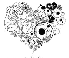 Flower composition heart pattern vector