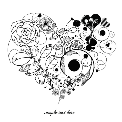 Flower composition heart pattern vector