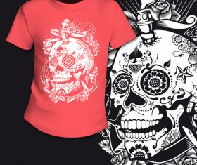 Flower skull t-shirt printing pattern design vector
