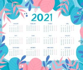 Flowers and plants hand drawn 2021 new year calendar vector