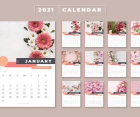 Flowers background 2021 calendar vector