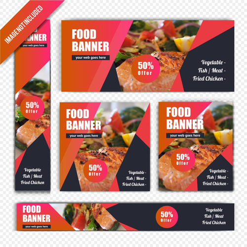 Food banner poster vector
