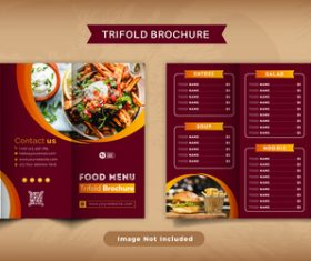 Food trifold brochure menu vector