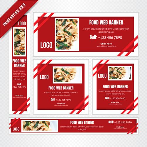 Food web banner poster vector