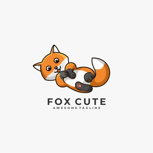Fox cute logos vector