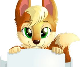 Fox vector holding white cardboard