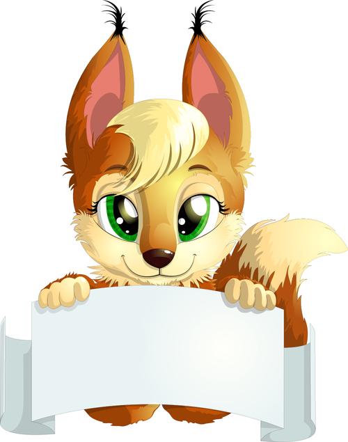 Fox vector holding white cardboard