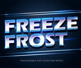 Freeze frost editable font effect text vector