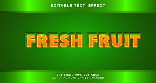 Fresh fruit 3d editable text style effect vector