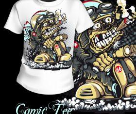 Funny cartoon t-shirt printing pattern design vector