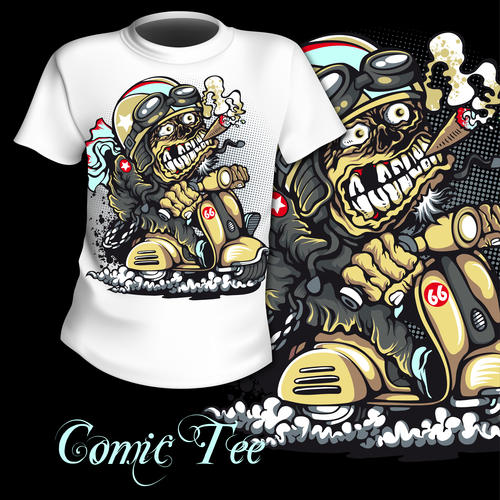 Funny cartoon t shirt printing pattern design vector