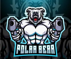 Furious polar bear esport mascot logo vector