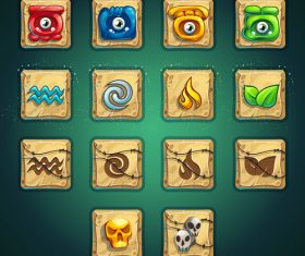 Game icon interface design vector