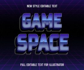 Game space text style effect vector