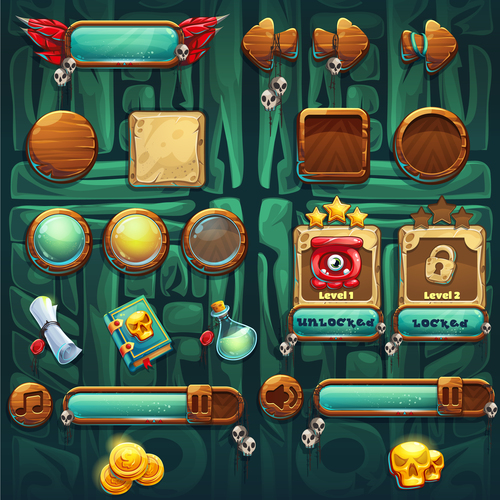 Game various elements design vector