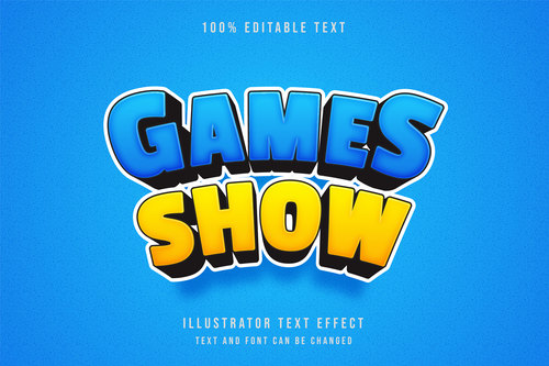 Games show 3d editable text vector