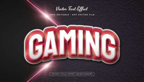 Gaming embossed texture effect font text vector