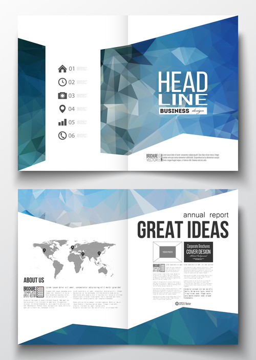 Geometric brochure cover vector