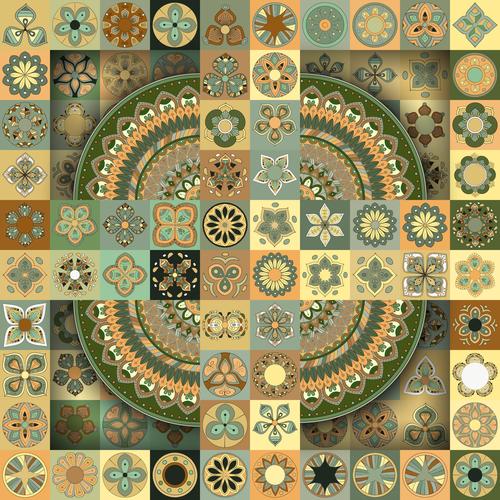 Geometric flower pattern ethnic ornament design vector