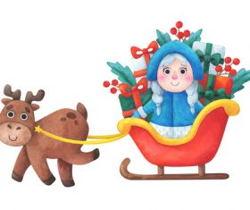 Gift snow maiden Christmas illustrations vector