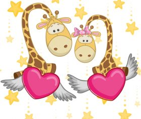Giraffe and hearts vector