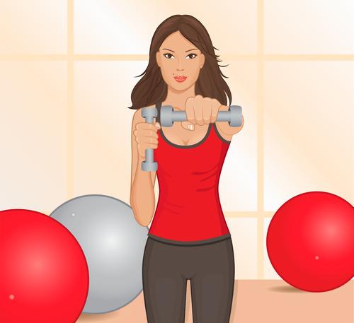 Girl doing arm exercises vector