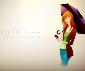 Girl holding an umbrella cartoon illustration vector