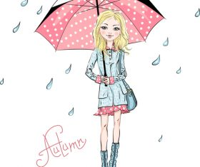 Girl holding an umbrella cartoon vector