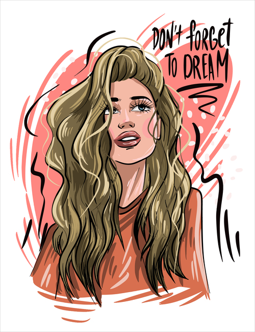 Girl of slogan illustration vector