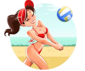 Girl playing beach volleyball vector