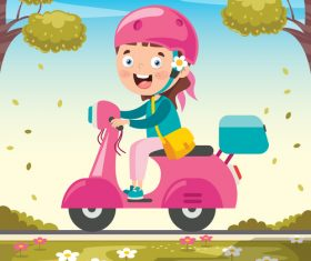 Girl riding a pink electric car vector