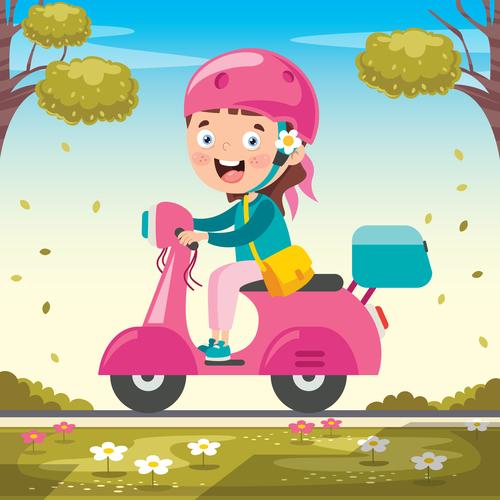 Girl riding a pink electric car vector