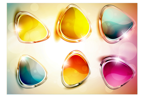 Glass texture button icon vector