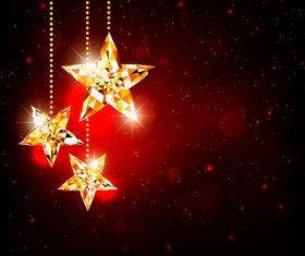 Glittering star christmas card vector
