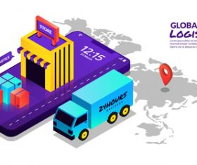 Global logistics concept illustration vector