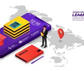 Global online learning concept illustration vector