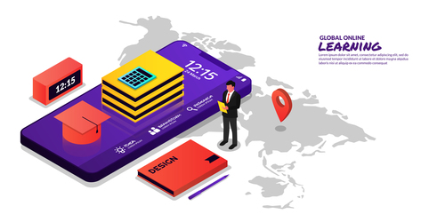 Global online learning concept illustration vector
