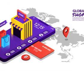 Global shoppong concept illustration vector