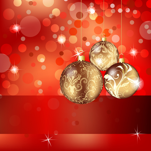 Gold color ball christmas tree ornament vector