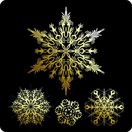 Gold snowflake vector