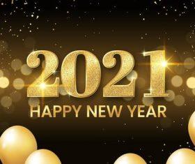 Golden 2021 new year vector