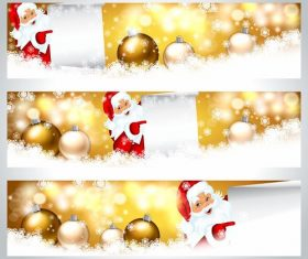 Golden christmas banner vector