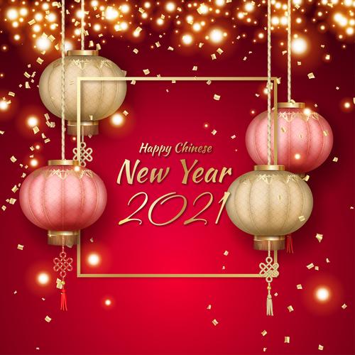 Golden confetti new year lantern background vector