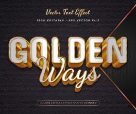 Golden embossed texture effect font text vector